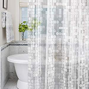 LEMON CLOUD Cortina Baño - Impermeable, Antimoho, Antibacteriano 180 x 180 cm (3D PEVA Geométrica Transparente)