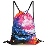 Galaxy Gym Drawstring Bag,Waterproof Sports Backpack for Men Women Girls Boys