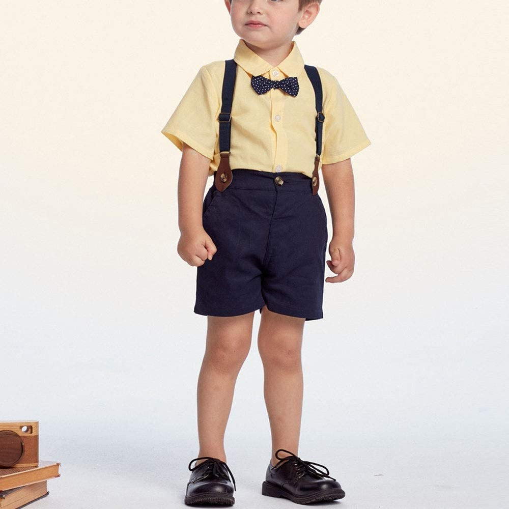 LIUMANG Handsome Children's Clothing Boy Gentleman Bow Tie Short-Sleeved Shirt Shirt + Suspender Suit for Party or Birthday (Color : Yellow, Size : 90cm)