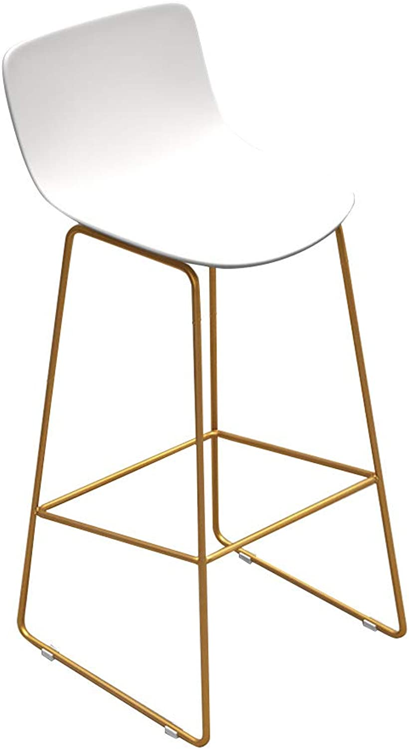 Barstools Chair with Back and Footrest Upholstered Side Dining Chairs for Kitchen Pub Bar Bistro Café Counter Height Stool   PP Seat and gold Metal Legs