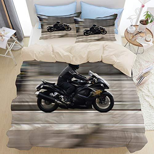 LISNIANY Beige Duvet Cover,Motorrad Suzuki Motorräder fliegen in den Straßen,Mikrofaser Bettbezug 200 * 200cm 2 Kissenbezug 50 * 80cm