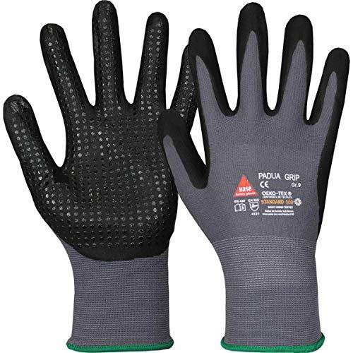 10 Paar Hase Safety Padua Grip Nitril-Arbeitshandschuhe, Rutschfeste Mechaniker-Handschuhe Größe XXL (11)