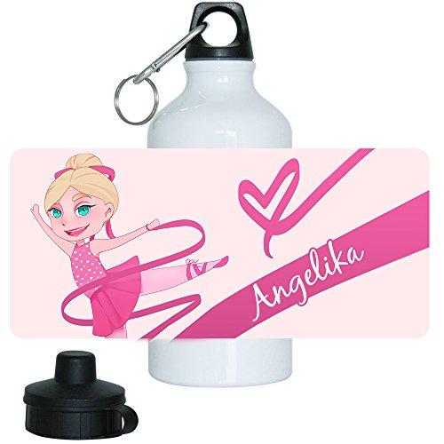 Trinkflasche mit Namen Angelika und schönem Motiv mit Tänzerin für Mädchen | Motiv-Trinkflasche | Kinder-Trinkflasche
