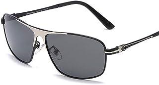 DishyKooker Men Polarized Sunglasses UV-resistant Metal Square Frame Glasses