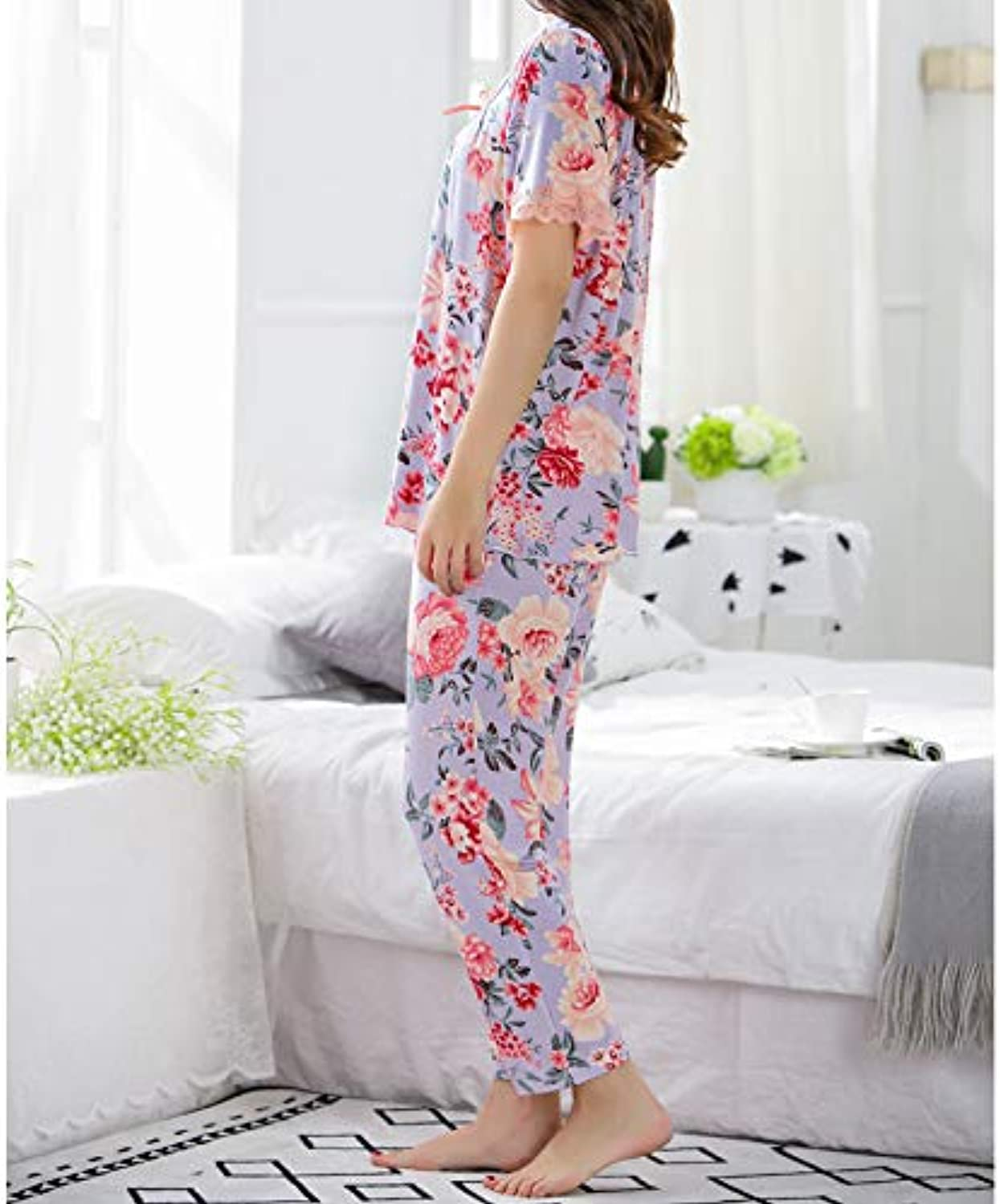 IANXI Home Summer MiddleAged Ladies Pajamas ShortSleeved Cropped Trousers Suit Modal Loose Comfortable Mother Loaded Loose Home Service (Size   XXL)