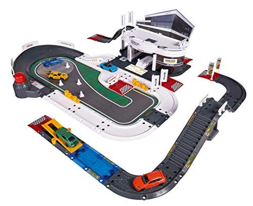 Majorette Porsche Experience Center Spielset, über 60 Teile, Experience Center Gebäude mit E-Ladesäule, Werkstatt, Waschanlage, Porsche Teststrecke mit On-/ Offroad Parcours, inkl. 5 Spielzeugautos