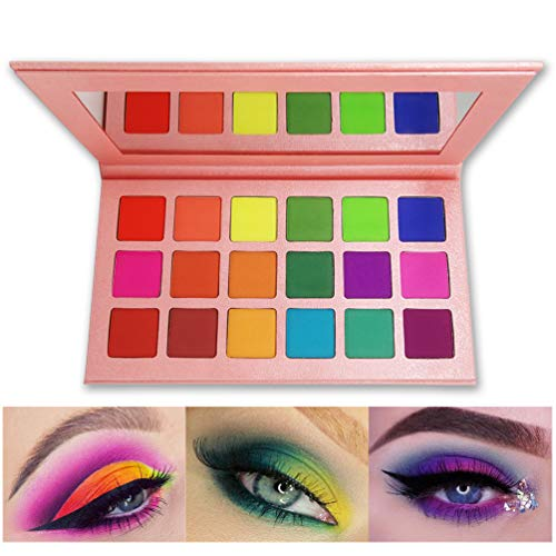 Matte Eyeshadow Palette, FindinBeauty 18 Bright Colors Highly Pigmented Makeup Eye Shadow - Professional Vegan Long lasting No Shimmer Silky Powder Rainbow Shades Cosmetics Set(Colorful) …
