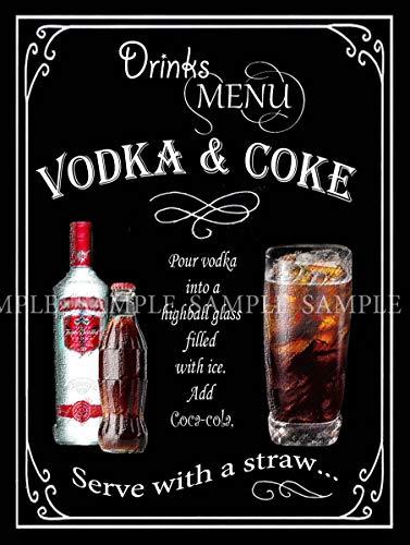 Vodka & Coke Retro Pub, bar, club, abri de jardin – Style vintage – Plaque en métal – 3 tailles au choix – Décoration de maison – Cadeau unique (40,6 x 30,5 cm 400 x 300 mm)