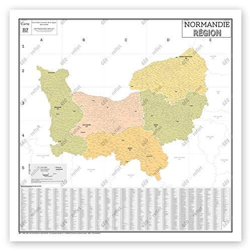 Mapa de Francia Murale – Mapa administrativo – Región Normandía – Modelo Vintage – Póster plastificado – Gran formato 120 x 120 cm