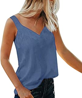 MURTIAL Women's Vest Tank Top V-Ne Sleeveless T-Shirt Solid Camis Blouse Shirt Tops