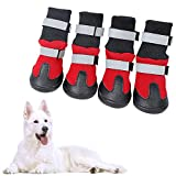KOESON Waterproof Dog Boots Winter Pet Shoes, Outdoor Pet Snow Booties with Reflective Straps, Cold Weather Paw Protector with Anti-Slip Sole for Medium Large Dogs 4 Pcs Red Large