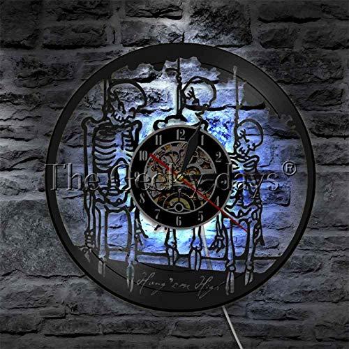 ZZLLL Relojes de Pared de Esqueleto Colgantes Que cuelgan Sus Citas de Esqueleto Alto Reloj de Disco de Vinilo Esqueleto de Novio Grim Reaper Decoración-con LED