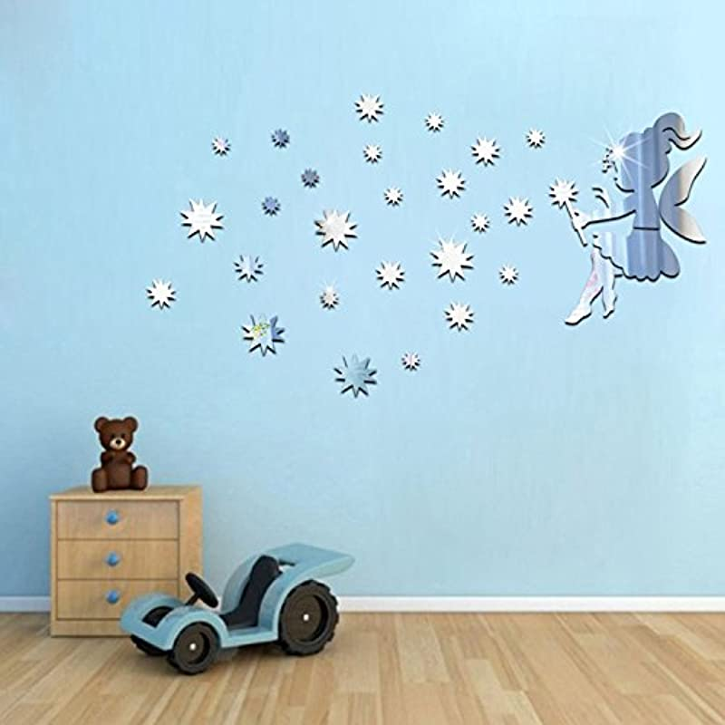 Cartoon Home Decor Fairy Blowing Stars Wall Decal Fashion DIY Removable Mirror Wall Stickers For Girls Boys Bedroom Nursery Wall Beauty Adds Silver