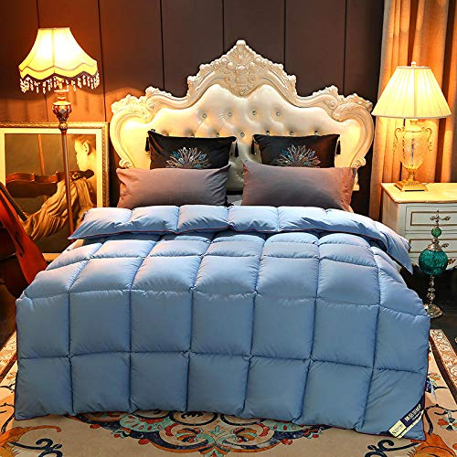 Hahaemall Winter Duvet King Size 100% Cotton Anti Dust Mite & Down Proof Fabric Comfort - Warmth Without The Weight - Duvet Quilt - For All Season Use-Blue_150x200cm-3Kg