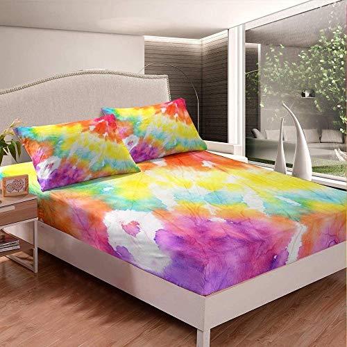 Edredón Ajustable Queens,,Juego de sábanas de cama Sábanas ajustables Juego de cama con fundas de almohada Cannabis Vibrante Verde Colorido Juego de sábanas impresas Funda de cama suave Decoración de