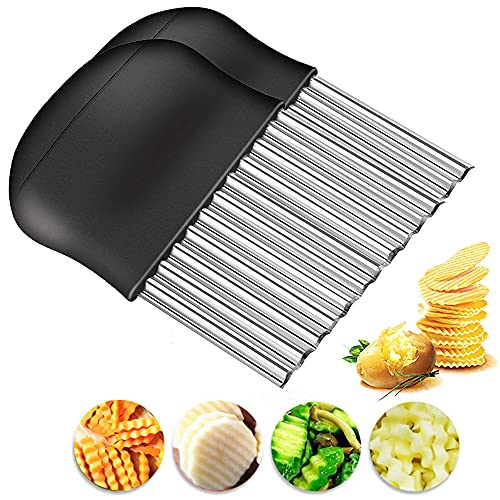 BESSIKON® 2 pezzi coltello a onda per patatine fritte,tagliaverdure a onda,tagliapatate fritte,affettaverdure in acciaio inossidabile,coltello ondulato per verdure,taglia macedonia