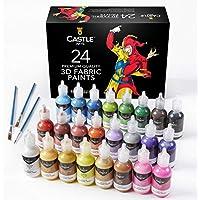 Castle Art Supplies juego de pinturas para tela 3D. 24 colores brillantes e hinchables de alta calidad perfectos para ropa, lienzo, vidrio y madera. 29 ml por botella, no tóxico, seguro para niños