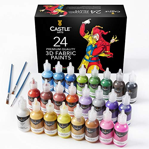 Castle Art Supplies 24 3D Fabric Paints Set for Children Adults Artists | Perfect for Clothing Canvas Glass Wood Metal | 29ml Bottles, Includes 3 Brushes | Non Toxic and Safe for Children