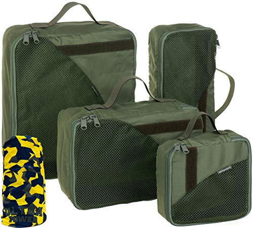 Wisport Set Packbeutel Rucksack | Rucksackbeutel | Backpacking | Packwürfel | Camping | Trekking | Wandern | Outdoor | Wanderrucksack | Backpack | 4-teilig | Olive Green | + UP Schlauchtuch