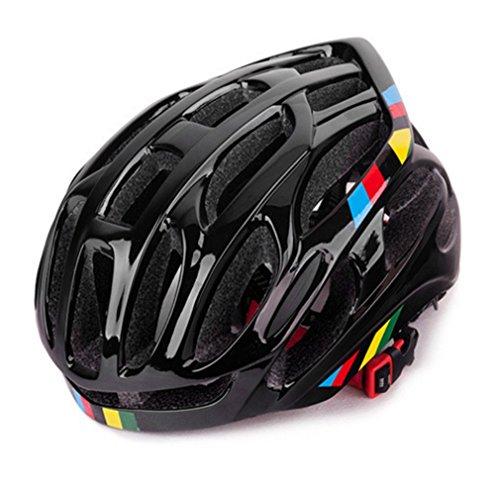 Ventilación Suave Casco de Bicicleta de Ciclismo Casco de Bicicleta Transpirable Casco de montaña de Carretera Totalmente Moldeado (Negro)