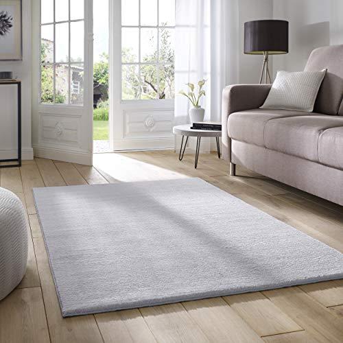 Taracarpet Supersoft kurzflor Teppich Fiona Wohnzimmer Schlafzimmer Kinderzimmer Flur Läufer waschbar rutschfest Uni grau 120x170 cm