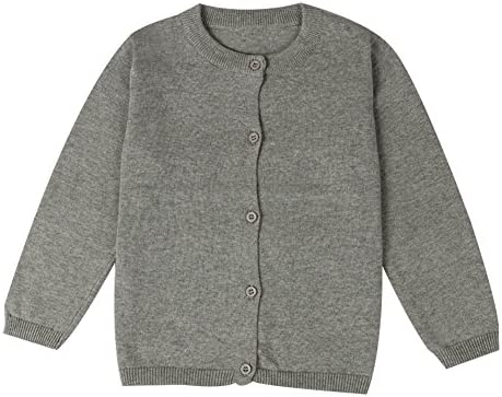 Baby Boys Girls Button Down Cardigan Toddler Cotton Knit Sweater Grey 90 product image