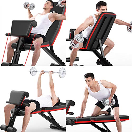 Weight Bench, Adjustable Strength Training Sit Up Incline Abs Exercise Bench for Full Body Workout Multi-Purpose Utility Weight Bench Foldable Flat Bench Press for Home Gym (B)