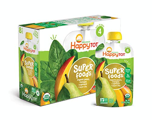Happy Tot Organic Stage 4 Super Foods Pears Mangos and Spinach + Super Chia, 4.22 Ounce Pouch (Pack of 16) (Packaging May Vary) Non-GMO Gluten Free3g of Fiber Excellent source of vitamins A & C