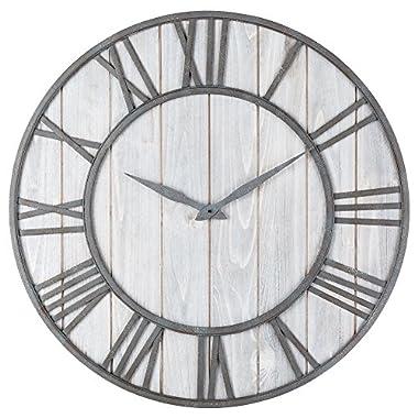 Oldtown Clocks OLDTOWN Farmhouse Metal & Solid Wood Whisper Quiet Ticking Wall Clock (WhiteWash, 30-inch)