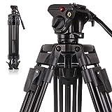 POLAM-FOTO Trípode profesional de aleación de aluminio resistente trípode de cámara de vídeo trípode con cabezal fluido de 64 pulgadas/163 cm