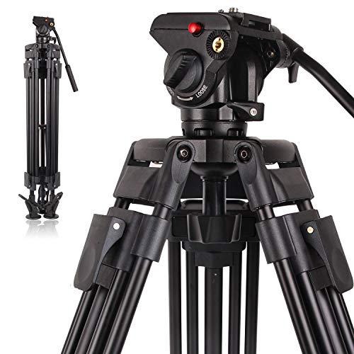 POLAM-FOTO Professionelles Video-Stativ aus Aluminiumlegierung, robust, für Videokamera, Stativ mit Flüssigkeitskopf, 163 cm