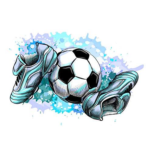 187 Wandtattoo Fussballschuhe und Ball - Kinderzimmer Junge Sticker Aufkleber Wanddeko Wandbild Fussball - Größe 745 x 1000 mm