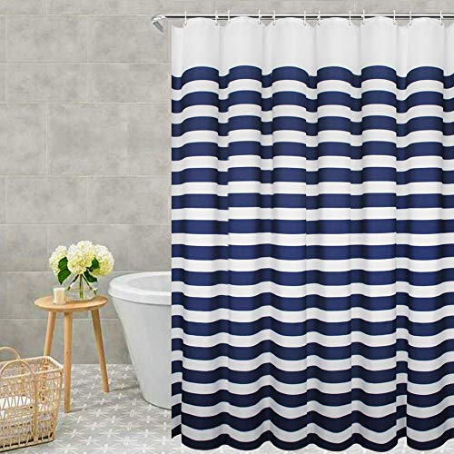 VCVCOO Badvorhänge für Badezimmer Wasserdicht, Stoff Duschvorhänge Waschbar, Badvorhang für Master Guest Badezimmer 54Wx78L Navy