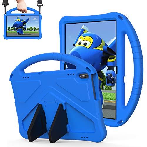 QYiD Funda Infantil para 10.1' Lenovo Tab M10 HD (TB-X505F,TB-X605F) / Smart Tab P10 (TB-X705F), Ligero EVA Antigolpes Protectora para niños con Soporte & Bandolera para Lenovo Tab M10/P10, Azul