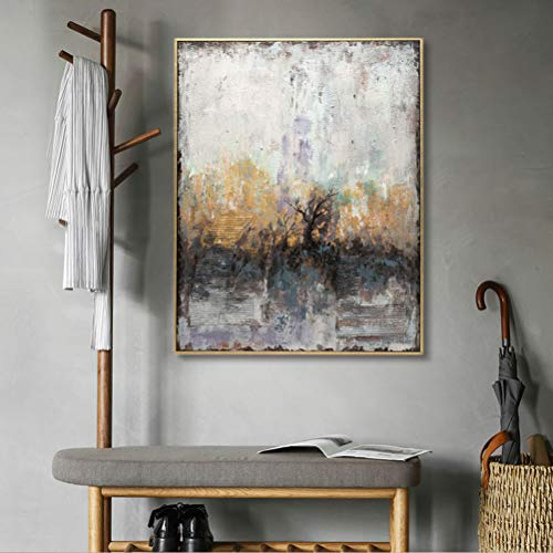 MOTINI Abstract Canvas Wall Art Oil Painting 100% Hand-Painted Artwork Home Wall Decorations for Living Room Bedroom Framed Paintings for Home Decor