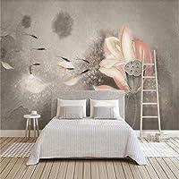 mzznz カスタム3D手描きヴィンテージインクロータスリビングルームの寝室の背景壁紙壁画-120X100Cm