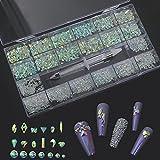 600 piezas de diamantes de imitaci¨n de u?as de m¨²ltiples formas geogr¨¢ficas + 2500 piezas SS3-SS16 Color Flatback Non-Hotfix Crystal Ge + 1pc Wax Pen Set-3100pcs