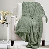 The Connecticut Home Company Soft Fluffy Warm Faux Fur and Sherpa Throw Blanket, Luxury Thick Fuzzy Blankets for Home and Bedroom Décor, Comfy Washable Accent Throws for Sofa Beds, Couch, 65x50, Sage