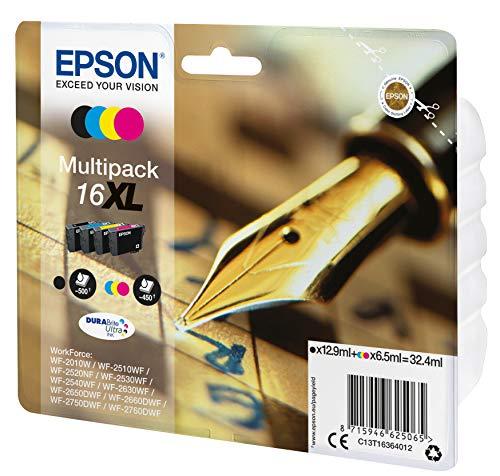 Epson C13T16364012 - Cartucho de tinta estándar, 4 Mutipack, Black/Yellow/Magenta/Cyan, Ya disponible en Amazon Dash Replenishment, XL-High Capacity