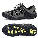 SAGUARO Sandalias Deportivas para Hombres Sandalias de Senderismo Verano Cerradas Zapatos Trekking Antideslizante Transpirable Sandalias de Playa Outdoor, 075 Verde, 47 EU