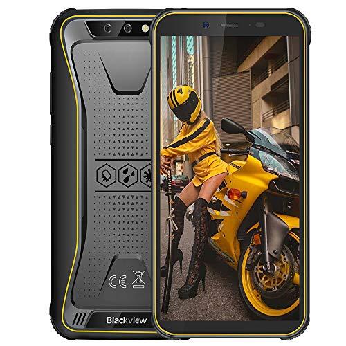 Blackview BV5500 Plus Android 10,0 Outdoor Smartphone ohne Vertrag Günstige 4G- 5.5 Zoll (13.9cm) HD Display, 4400mAh Akku, 3GB/32GB 128GB erweiterbar, Dual SIM Handy - NFC/Face ID/OTG/GPS - Gelb