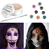 CCbeauty Halloween Makeup Wax Fake Moulding Scars,with Spatula and 8pcs Scary Eyes Plastic Doll Eyeballs Horror Props