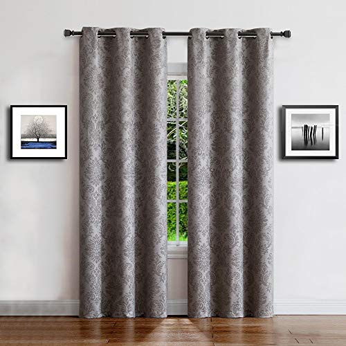 """WARM HOME DESIGNS 1 Pair (2 Panels) of Light Gray (Silver) Insulated Thermal Blackout Curtains with Embossed Textured Damask Flower Pattern. Each Grommet Top Window Panel is 38"""" X 96"""". EV Grey 38x96"""
