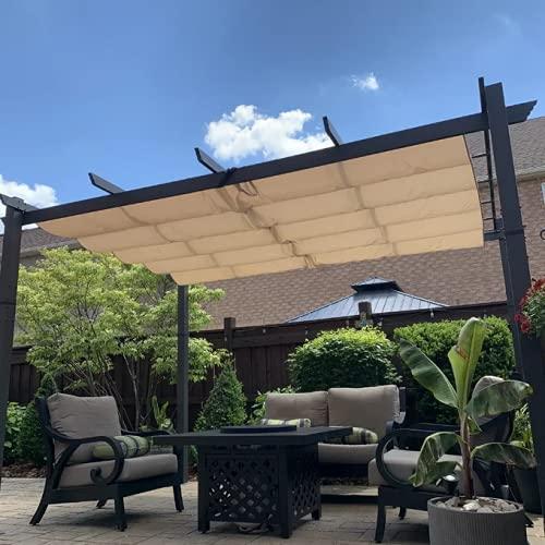PURPLE LEAF 10' X 10' Outdoor Retractable Pergola with Sun Shade Canopy Patio Metal Shelter for Garden Porch Beach Pavilion Grill Gazebo Modern Yard Grape Trellis Pergola, Beige