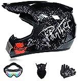 Casco da motocross, con occhiali da sole, guanti da downhill, per ATV, MTB, Quad Bike, motocross, standard per bambini (nero, S)