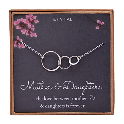 EFYTAL Mom 2 Daughters Necklace, Sterling Silver Three 3 Interlocking Infinity Triple Circles, Mothers Day Jewelry Gift