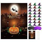 FEPITO Pin den Hut auf dem Kürbis Halloween Spiel mit 24 Stück Hut Aufkleber für Halloween Party...