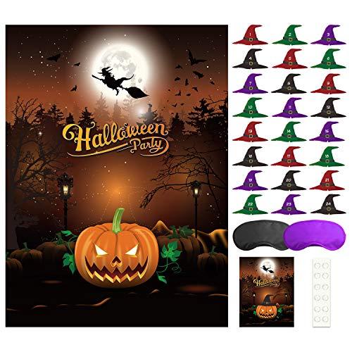 FEPITO Pin den Hut auf dem Kürbis Halloween Spiel mit 24 Stück Hut Aufkleber für Halloween Party Favors, Halloween Dekorationen
