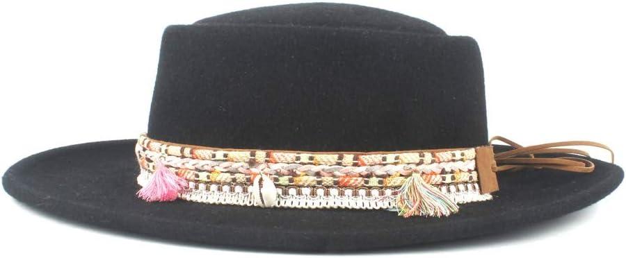 Grossartig Men's Wide Brim Panama Hat Wool Polyester Top Hat Fedora Hat Autumn Winter Jazz Hat Tassel Belt (Color : Black, Size : 56-58)