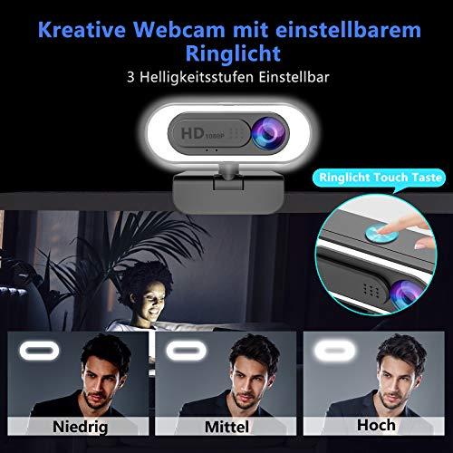NIYPS 1080P Webcam mit Mikrofon und Ringlicht, HD Facecam mit Abdeckung und Stativ für PC/MAC/Laptop/Desktop, USB Web Cam Streaming für YouTube,Skype,Zoom,Xbox,Lernen, Videokonferenz und Videoanrufe